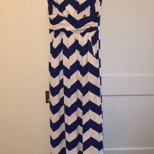 Navy and white chevron strapless maxi dress small