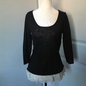 Arizona Jean Company Sweaters - Lightweight lace-trim sweater