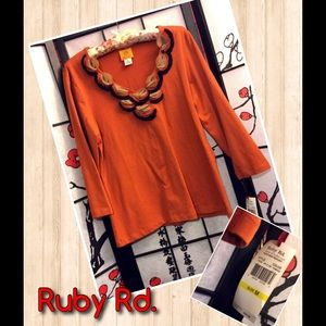 Ruby Rd Tops - Ruby Rd. Orange Embellished Retro Style Top