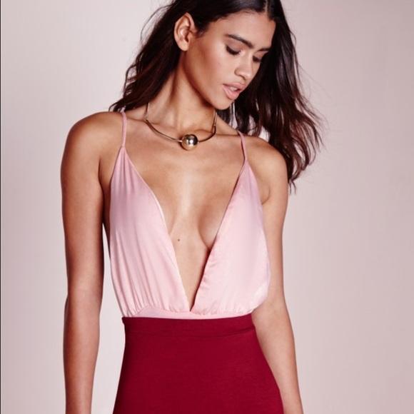 f1822bbc95ccf9 Missguided silk extreme plunge bodysuit pink. M 5731428b41b4e0dfee00d60f