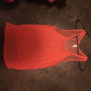 Coral tank top with lace at the top