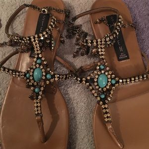 163e21bb552863 Steve Madden Shoes - Unique rhinestone and turquoise Sandals