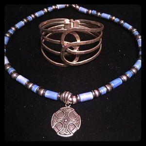 Jewelry - Celtic necklace and cuff bracelet bundle