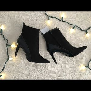 Black ZARA Pointed Toe Heeled Ankle Boots