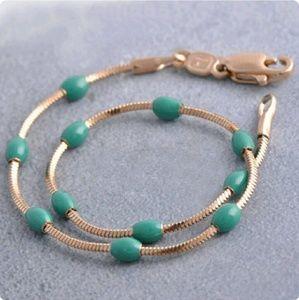14k Rose Gold Plated Green Enamel Snake Bracelet