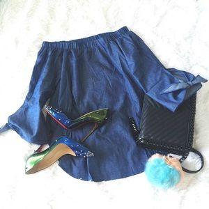 Denim blue off-shoulder blouse