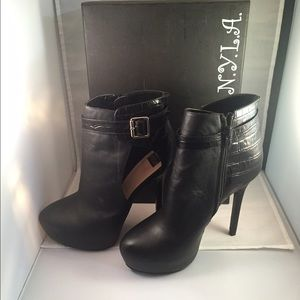 "Nyla new 4 1/2"" high black leather  booties."