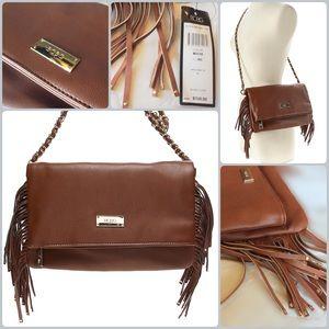 BCBG Handbags - BCBG Paris Fringe Shoulder Handbag Brown & Gold