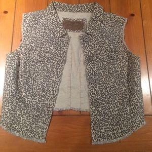 Short cheetah print jean material vest