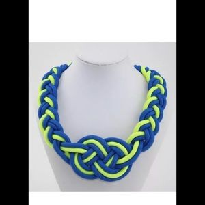 Royal blue n neon yellow braid necklace