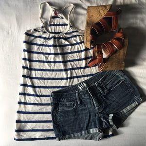 Blue and White Striped H&M Tank Top