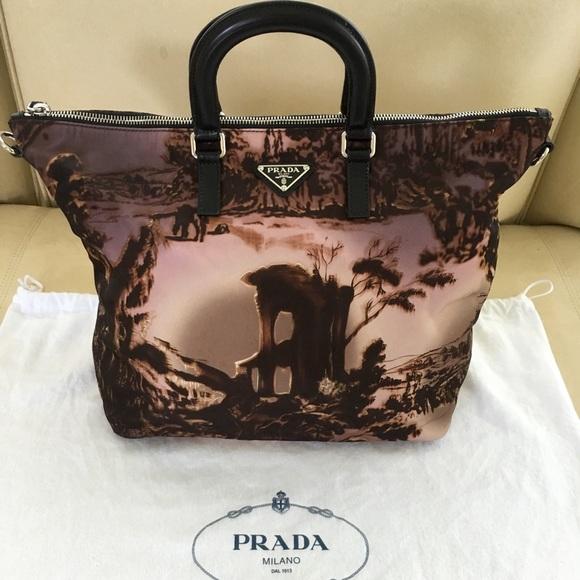 91b6156e4388 Prada Bags | Tessuto Stampato Alabastro Nylon Tote Bag | Poshmark