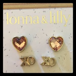 lonna & lilly Jewelry - NWT- lonna & lilly- 2 SetEarringsRoseHeart&XoStuds