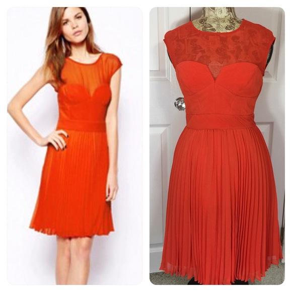 7112eebe9a Karen Millen Dresses   Skirts - Karen Millen orange pleated pintuck dress