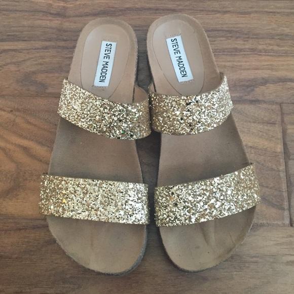 Size 8 Steve Madden gold glitter cork sandals