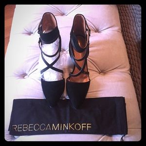 REBECCA MINKOFF suede and leather strappy pumps