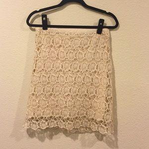 Cream floral lace pencil skirt