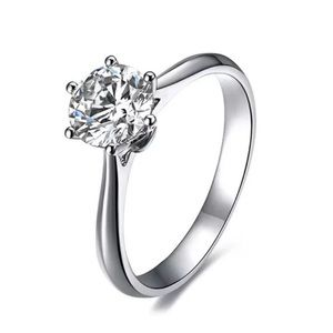 Solitaire Sterling Silver Engagement Ring