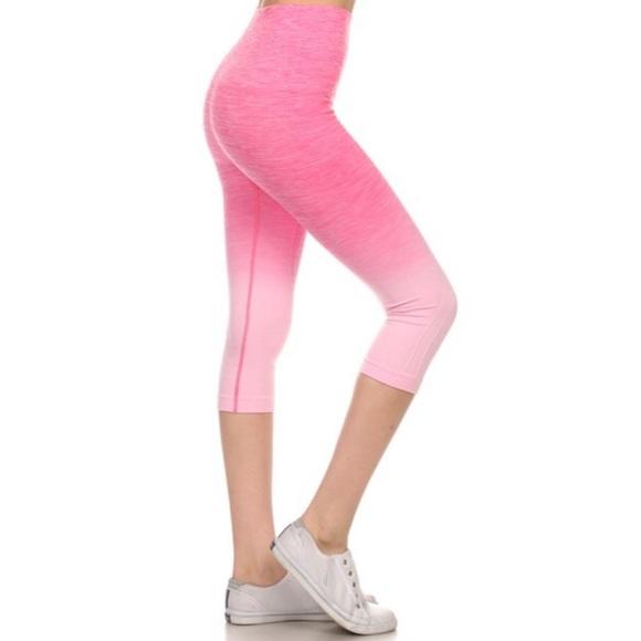 90% off Boutique Pants - ❗️CLEARANCE❗️Pink Ombre Workout Capri ...