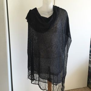 Tops - Sheer black poncho