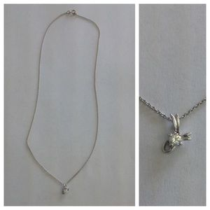 Sterling Silver Jewelry - Sterling Silver Diamond CZ Cancer Ribbon Necklace
