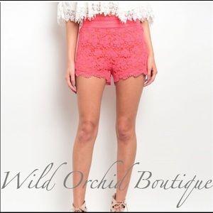 🌿LOWEST PRICE UP FRONT CLOSET Pants - 💥SALE💥CORAL CROCHET SHORTS
