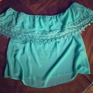 Off-the-Shoulder Turquoise Top