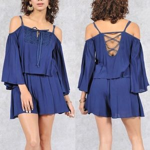KATHALYN open shoulder romper - NAVY BLUE