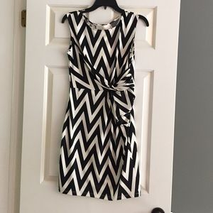 Julie Brown - black and white chevron dress