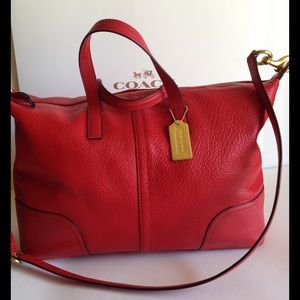 Coach Handbags - SALE!♥️Coach Red Hadley Luxe Grain Leather Satchel