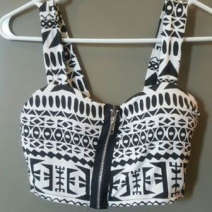 Black and White Aztec Crop Top