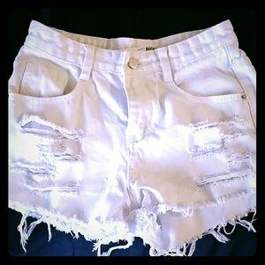 White Ripped Denim High Waisted shorts!