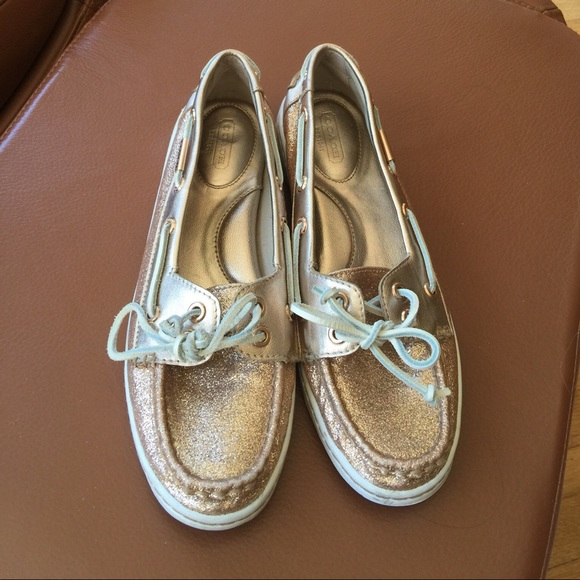 66600ae6de79 Coach Shoes - Coach rose gold glitter boat shoe 8 1 2