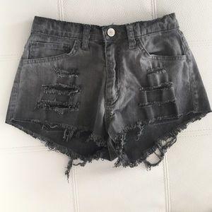 Tobi high waisted gray jean shorts
