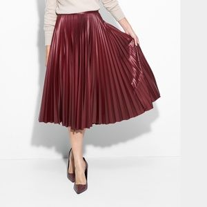 Burgundy faux leather effect skirt
