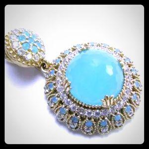 Jewelry - 💠AMAZING OPAL & WHITE TOPAZ PENDANT•925K SS💠