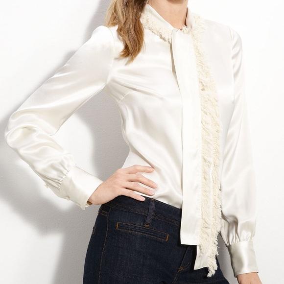383bc5e602e12 Tory Burch Waverly blouse silk fringed tie Sz 2. M 57324cb9713fde4277004886