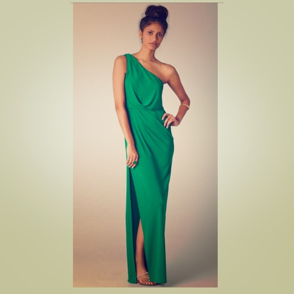 BCBGMaxAzria Dresses | Bcbg Green One Shoulder Maxi Dress | Poshmark