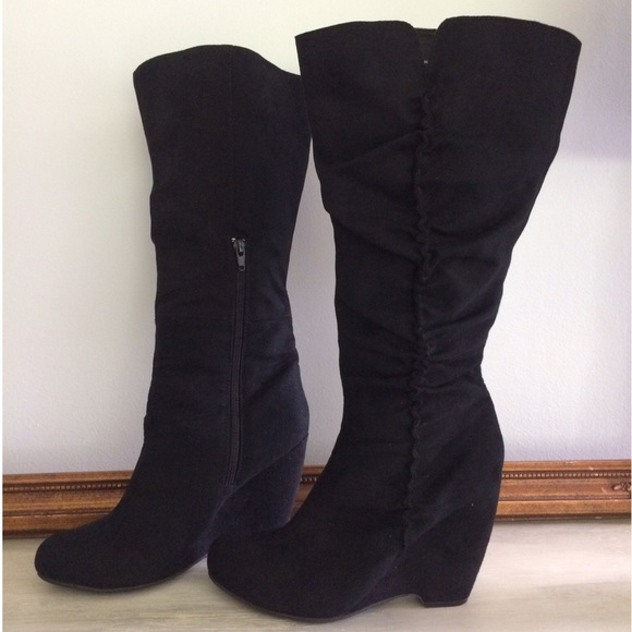 fashion bug black heeled boots from allison s closet on