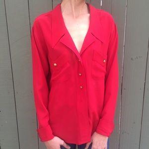 Chanel vintage red silk button down shirt!