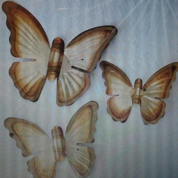 Brass Butterflies, Wall Decor, Set Of 3