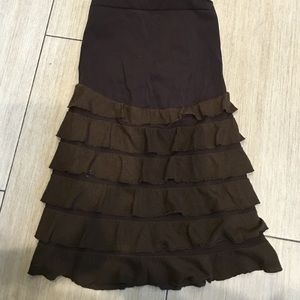 👶🏻 Maternity MINI brown skirt with tired ruffles