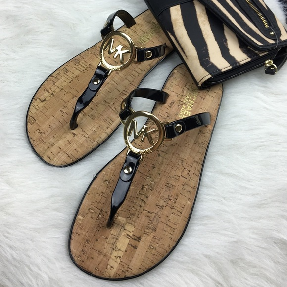 a9f925df982a Michael Kors black MK logo jelly cork sandal