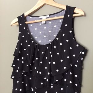 White House Black Market Tops - Black Scoop Neck with White Polka Dots Ruffled Top