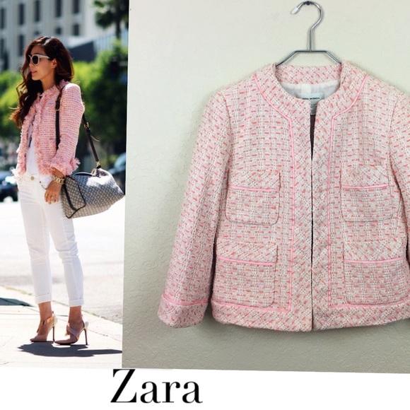 6bd8203f Zara Jackets & Coats | Pink Tweed Jacket | Poshmark