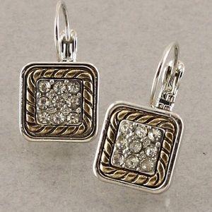 Jewelry - Rhodium tone square earrings