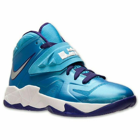 1e269118c95 Blue and Purple LeBron James high top sneakers. M 57326f332ba50a8bfc007e91