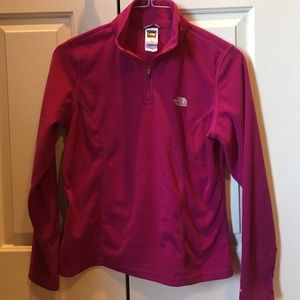 North Face qtr zip pink fleece pull over size M