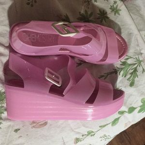 Chemistry shoes on poshmark pink jelly platforms urtaz Gallery