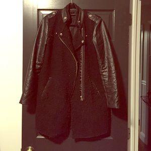 ZARA style leather sleeve coat